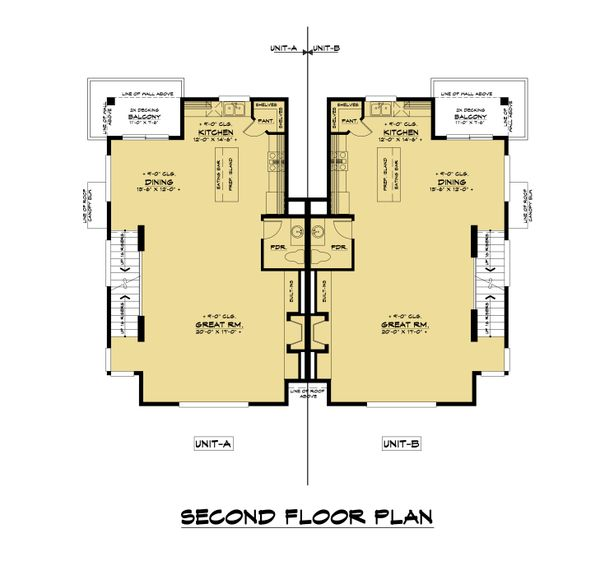 Contemporary Floor Plan - Upper Floor Plan #1066-119