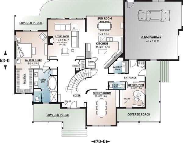 Home Plan - Country Floor Plan - Main Floor Plan #23-234