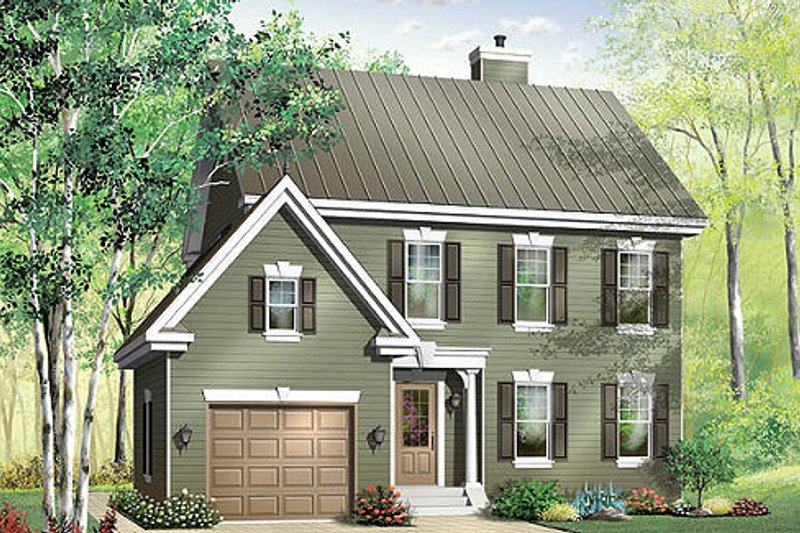 Traditional Style House Plan - 3 Beds 2.5 Baths 1722 Sq/Ft Plan #23-375 Exterior - Front Elevation