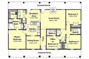Southern Style House Plan - 4 Beds 3 Baths 1856 Sq/Ft Plan #44-162 Floor Plan - Main Floor