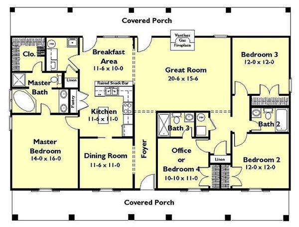 Architectural House Design - Southern Floor Plan - Main Floor Plan #44-162