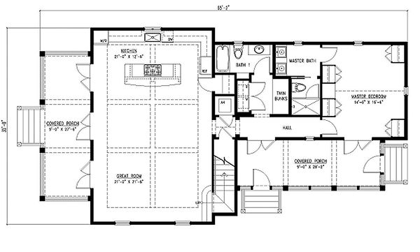Main Level Floor Plan - 2000 square foot cottage home