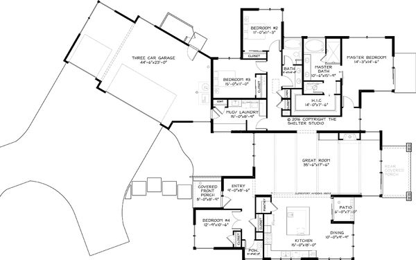 Contemporary Floor Plan - Main Floor Plan Plan #895-41