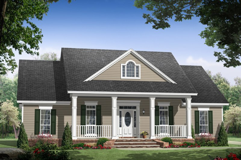 Country Style House Plan - 3 Beds 2 Baths 2014 Sq/Ft Plan #21-448 Exterior - Front Elevation