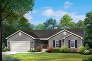 Ranch Style House Plan - 3 Beds 2 Baths 1594 Sq/Ft Plan #22-587 Exterior - Front Elevation