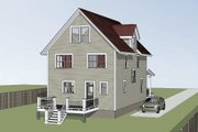 Craftsman Style House Plan - 4 Beds 3.5 Baths 1667 Sq/Ft Plan #79-305 Exterior - Rear Elevation