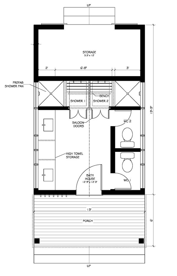 Farmhouse Style House Plan - 0 Beds 1 Baths 150 Sq/Ft Plan #889-1 Floor Plan - Main Floor Plan
