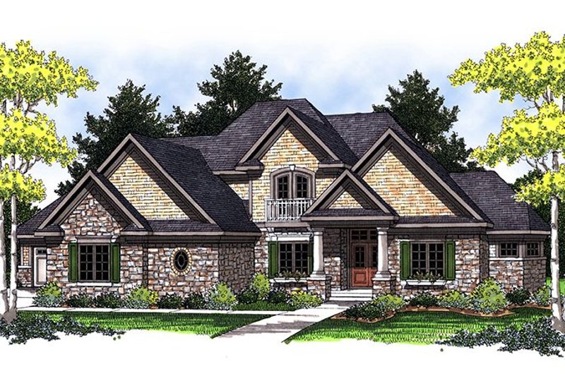 European Style House Plan - 4 Beds 3 Baths 2874 Sq/Ft Plan #70-847
