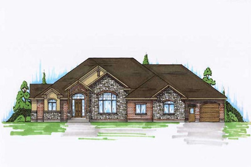 Traditional Style House Plan - 3 Beds 3 Baths 2997 Sq/Ft Plan #5-329 Exterior - Front Elevation