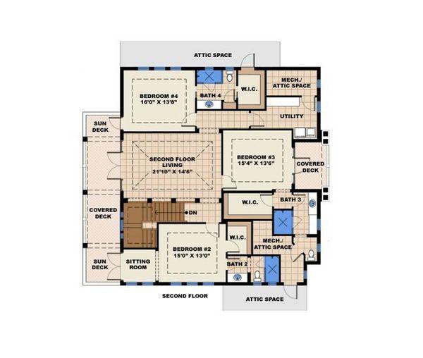 Contemporary Floor Plan - Upper Floor Plan Plan #27-532