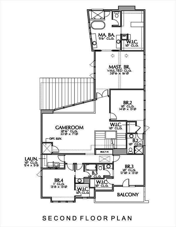 Modern Floor Plan - Upper Floor Plan Plan #449-13