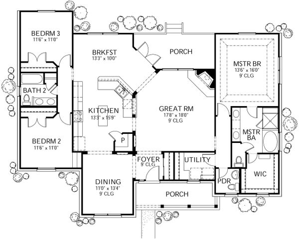 Country Floor Plan - Main Floor Plan Plan #80-203
