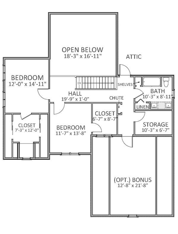 Craftsman Floor Plan - Upper Floor Plan Plan #898-28