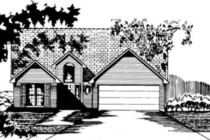 Traditional Style House Plan - 3 Beds 2 Baths 1647 Sq/Ft Plan #15-232 Exterior - Front Elevation