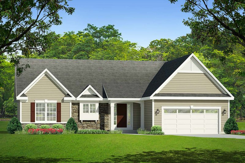 Ranch Exterior - Front Elevation Plan #1010-4