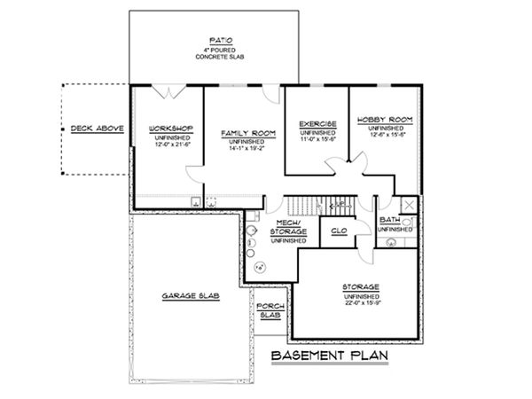 Dream House Plan - Cottage Floor Plan - Lower Floor Plan #1064-35