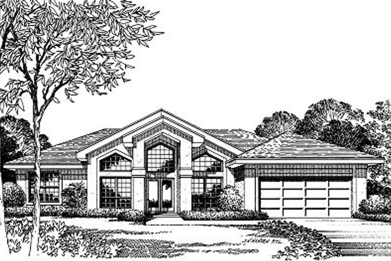 Mediterranean Style House Plan - 4 Beds 2 Baths 2010 Sq/Ft Plan #417-183 Exterior - Front Elevation