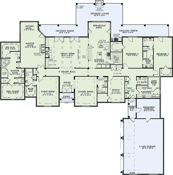 House Plan Design - European Floor Plan - Main Floor Plan #17-2387