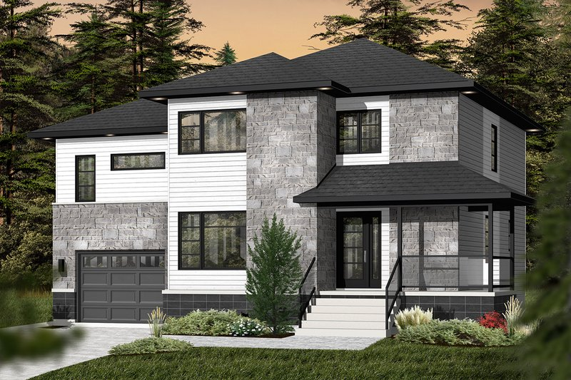 Architectural House Design - Contemporary Exterior - Front Elevation Plan #23-2588