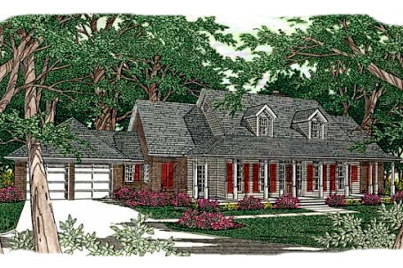 Southern Style House Plan - 4 Beds 3 Baths 2836 Sq/Ft Plan #406-161 Exterior - Front Elevation