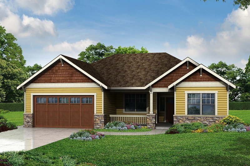 Cottage Exterior - Front Elevation Plan #124-971