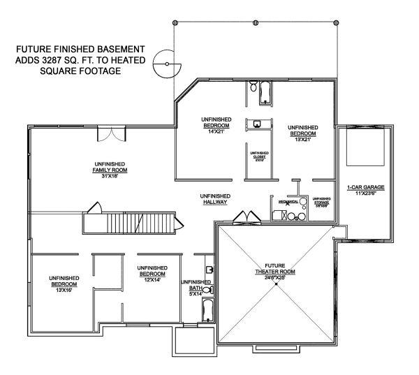 Craftsman Floor Plan - Lower Floor Plan #1073-1