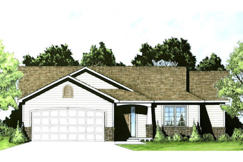 Ranch Exterior - Front Elevation Plan #58-202