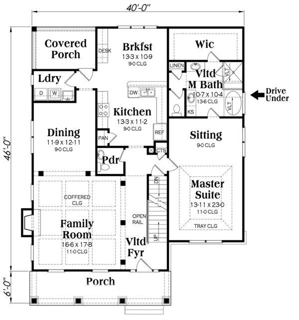Craftsman Floor Plan - Main Floor Plan Plan #419-244