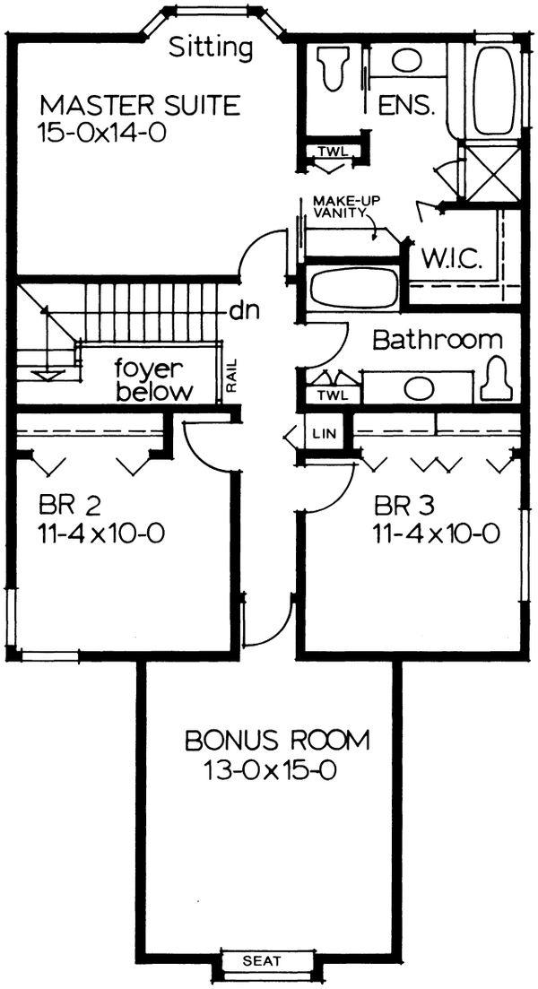 European Floor Plan - Upper Floor Plan #126-184