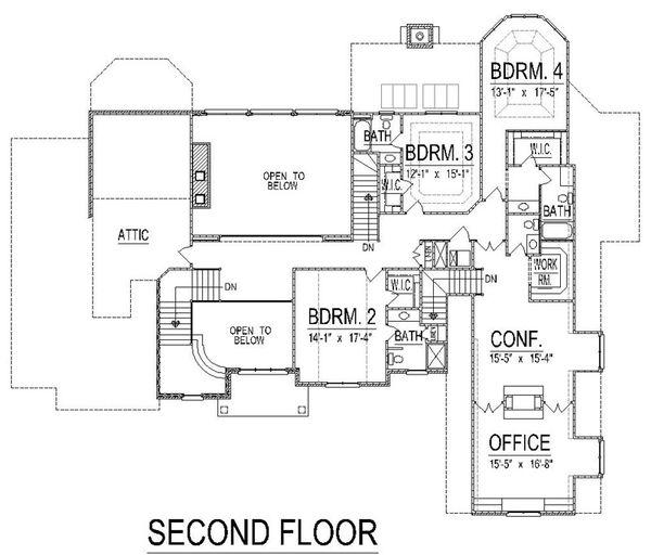 European Floor Plan - Upper Floor Plan #458-13