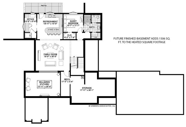 Farmhouse Floor Plan - Lower Floor Plan Plan #928-328