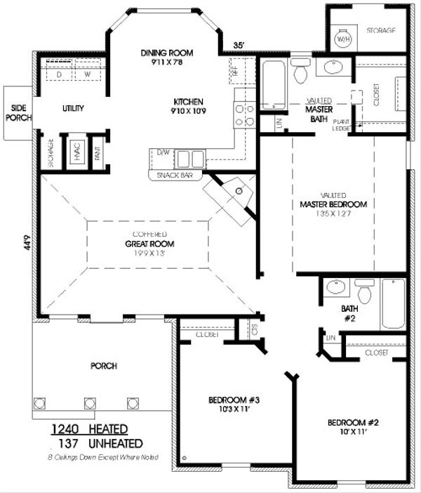 Traditional Floor Plan - Main Floor Plan Plan #424-257