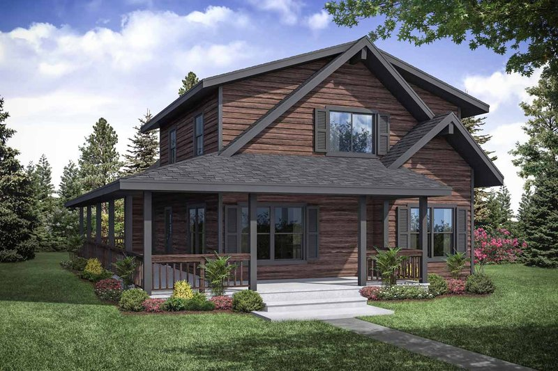 Cottage Exterior - Front Elevation Plan #124-1130