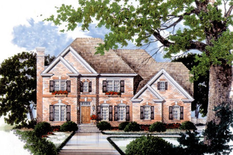 Traditional Style House Plan - 3 Beds 3 Baths 2187 Sq/Ft Plan #429-19 Exterior - Front Elevation