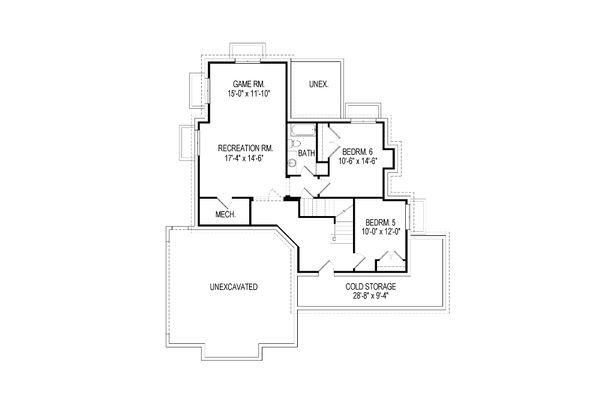 Craftsman Floor Plan - Lower Floor Plan Plan #920-35