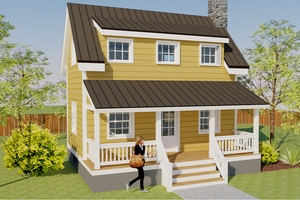 Cottage Exterior - Front Elevation Plan #542-19