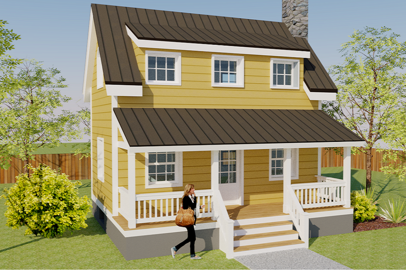 Cottage Style House Plan - 1 Beds 2 Baths 686 Sq/Ft Plan #542-19 Exterior - Front Elevation