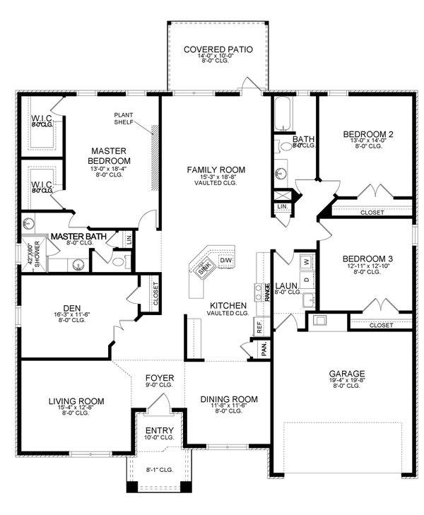 House Plan Design - Ranch Floor Plan - Main Floor Plan #1058-194