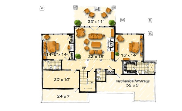 Log Floor Plan - Lower Floor Plan #942-43
