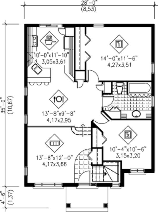 Traditional Floor Plan - Main Floor Plan Plan #25-4232