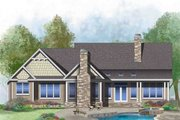 Craftsman Style House Plan - 3 Beds 2 Baths 1986 Sq/Ft Plan #929-1043 Exterior - Rear Elevation