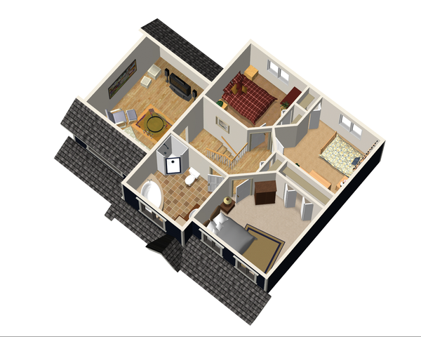 Contemporary Floor Plan - Upper Floor Plan Plan #25-4297