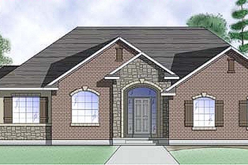 Traditional Style House Plan - 3 Beds 2.5 Baths 1608 Sq/Ft Plan #5-110 Exterior - Front Elevation