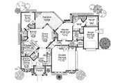European Style House Plan - 4 Beds 3.5 Baths 2713 Sq/Ft Plan #310-698 Floor Plan - Main Floor