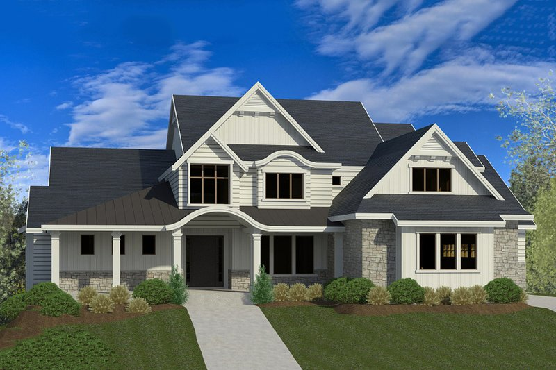 Architectural House Design - Craftsman Exterior - Front Elevation Plan #920-34