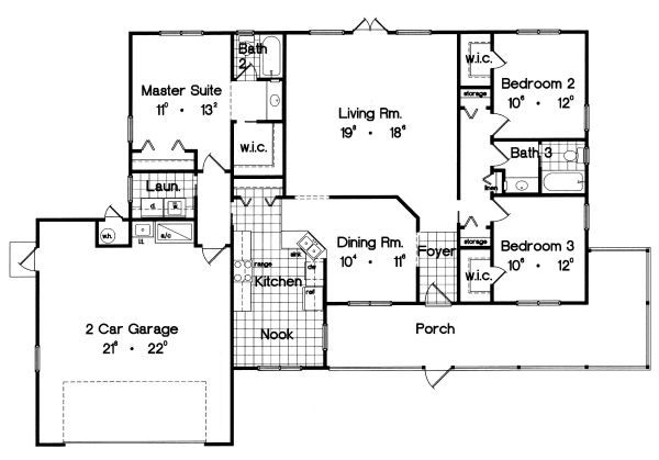 Ranch Floor Plan - Main Floor Plan Plan #417-138