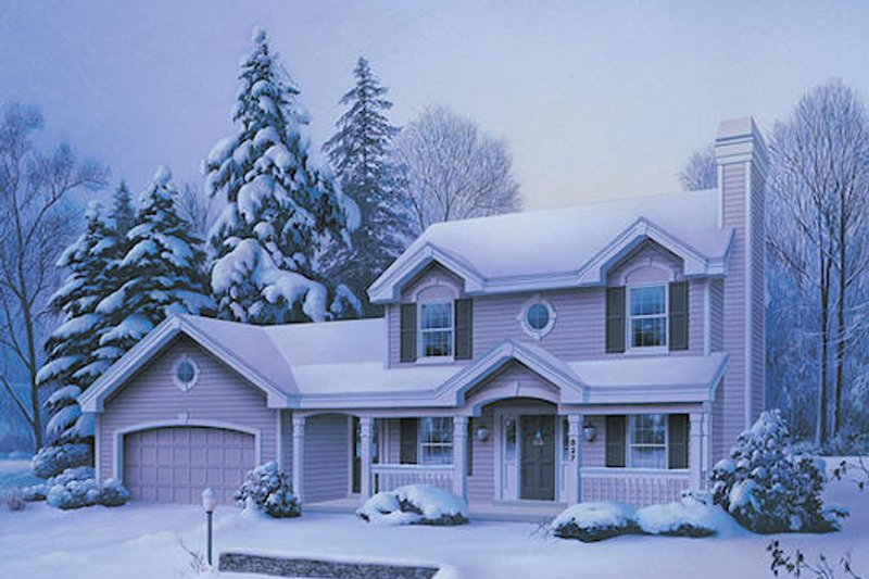 Traditional Style House Plan - 3 Beds 2.5 Baths 1308 Sq/Ft Plan #57-328 Exterior - Front Elevation