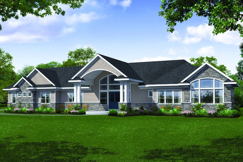 Ranch Style House Plan - 3 Beds 2.5 Baths 3459 Sq/Ft Plan #124-1115 Exterior - Front Elevation