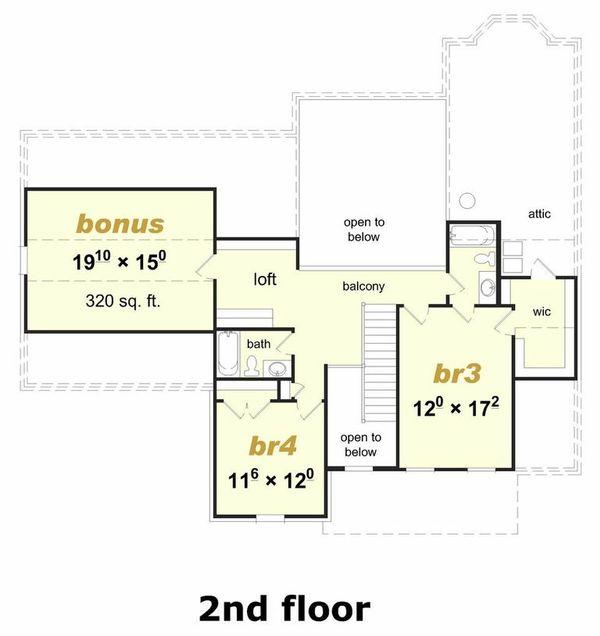 Farmhouse Floor Plan - Upper Floor Plan Plan #329-354
