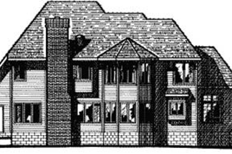 European Exterior - Rear Elevation Plan #20-1110 - Houseplans.com